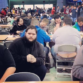 One of several photos that Reddit user Lemaymaymaster, aka Sidney Blair, took next to the exposed butt cracks present at the Grand Prix Richmond Magic: the Gathering tournament.