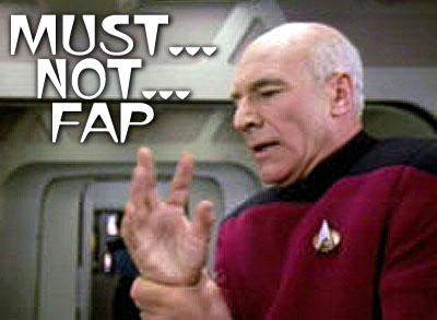 He might be captain of a starship, but Jean-Luc Picard has control issues when it comes to keeping his hand off his junk.